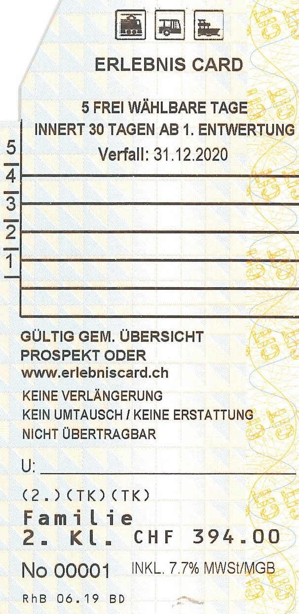Adventure Card for 5 days (Families)